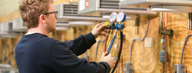 Heating and Air Conditioning (HVAC) majors in college