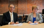 Dean of the University of New Hampshire Manchester, Ali Rafieymehr and Manchester Community College President, Susan Huard