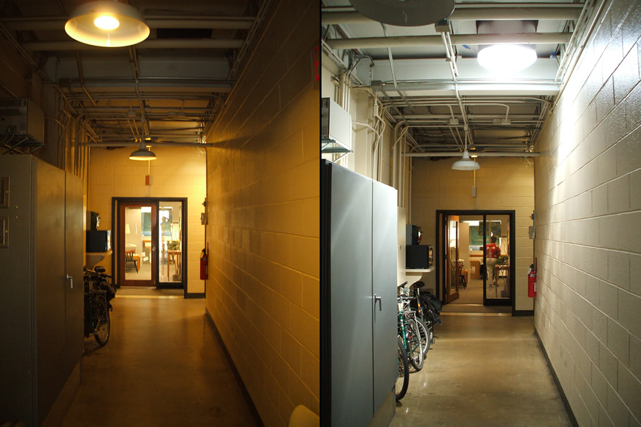 These before-and-after shots show the dramatic difference that reflected sunlight makes to a dark hallway. (Princeton University, Facilities Organization, Arthur Murphy)