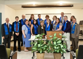 Kappa Beta Delta Inductees along with President Susan Huard and Professors Kathy Hoben and Ray Godin