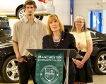 Gov. Maggie Hassan announcing the new $70,000 job training grant program funded by the New Hampshire Auto Dealers Association to aid community college students.