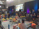 High school students compete in Vex Robotics State Competition.