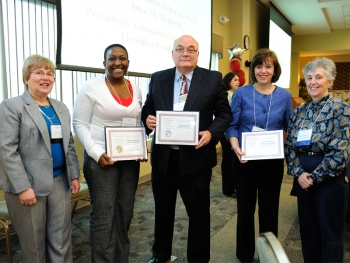 Manchester Community College President Susan Huard (left) with the college's Presidents' Award recipients: (from left) Viana Ferguson, recipient of the Presidents' Leadership Award; Professor Ed Cauthorn, Presidents' Good Steward Award, and Johanne M. Duchesne, Director, Resident Services and Sister Melinda Hill, Social Events Assistant at Birch Hill Terrace, recipient of the Presidents' Community Partner Award.