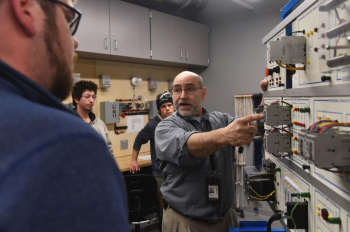 Professor Norm Carignan teaches a power transformers and rotating machines class in the Advanced Technologies Building at Manchester Community College.